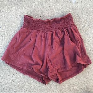 Bozzolo mauve elastic waist band stretchy shorts